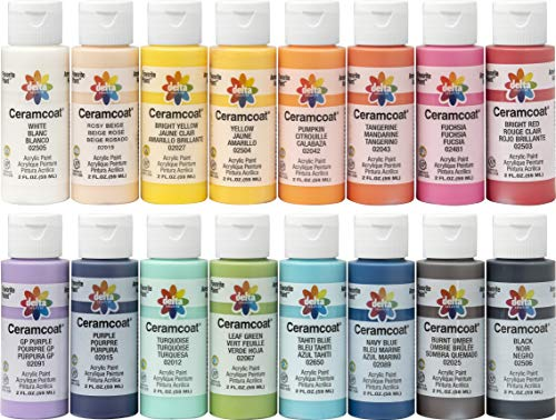 Delta Creative Ceramcoat Acrylic Paint Set in 16 (2-Ounce) Assorted Colors,