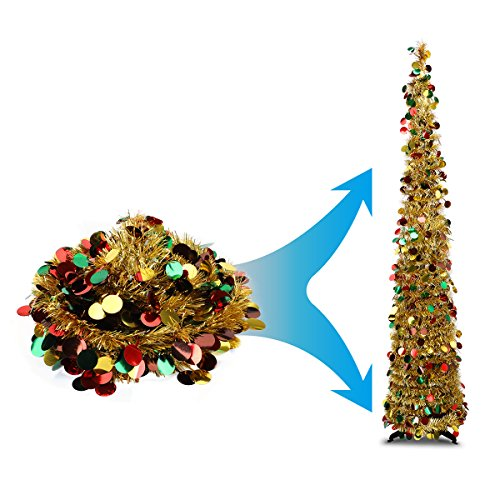 Joy-Leo 5 Foot Gold Multicolored Sequin Pop Up Tinsel Christmas Tree, Easy to Assemble and Store, for Small Spaces Apartment Fireplace Party Home Office Store Classroom Xmas Decorations