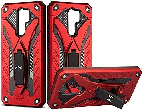 Funda Protectora para móvil Xiaomi Redmi 9 Con Soporte Diseño Armadura Resistente Elegante Carcasa Antigolpes Híbrida Blindada Reforzada Original Dura Armor Case (Xiaomi Redmi 9, Rojo)