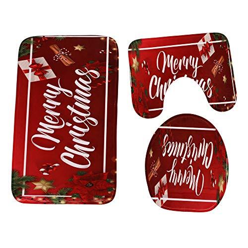 3Pc Cuarto De Baño De Navidad Antideslizante Tapete + Tapa WC Cubierta + Alfombra De Baño