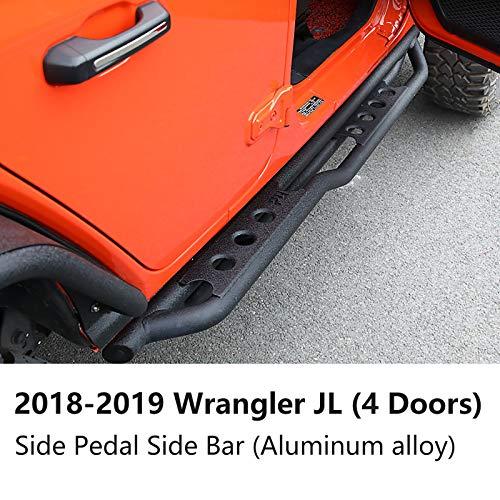 Battitacco per 2/4 Doors Sills Stainless Steel Door Pedal,Battitacco in acciaio inox inossidabile per 2018-2019 JEEP Wrangler JL,Protezione Battitacco,Pedale Soglia Ricambi Auto,4doorsC