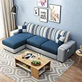 Woodcasa 4 Seater Roland LHS Fabric L Shape Sofa Set- (Dark Blue-Light Grey)