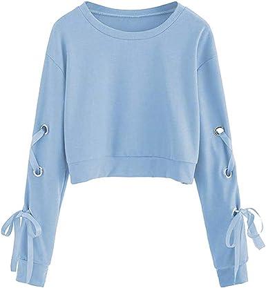 Fossen Mujer Sudaderas Cortas 2020 Otoño Invierno Blusas con Manga Larga con Cordones Camiseta para Adolescentes Chicas