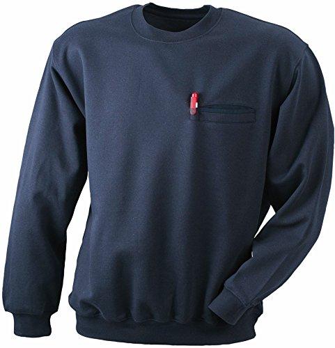 Men's Round Sweat Pocket/James & Nicholson (JN 924) S M L XL XXL 3XL, navy, L
