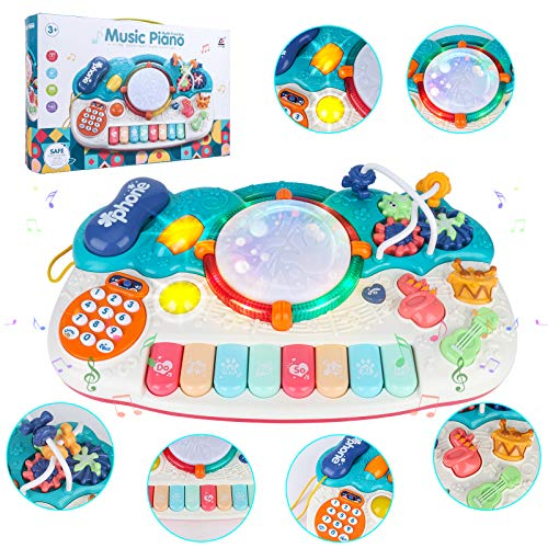 Toddler Piano Toy Keyboard for Girls & Boys Birthday Gift 1 2 3 4 5 Years Old Kids 8 Keys 6 in 1 Multifunctional Toy Piano Musical Instruments Toys, Electronic Piano Keyboard Phone-Gear-Drum Set