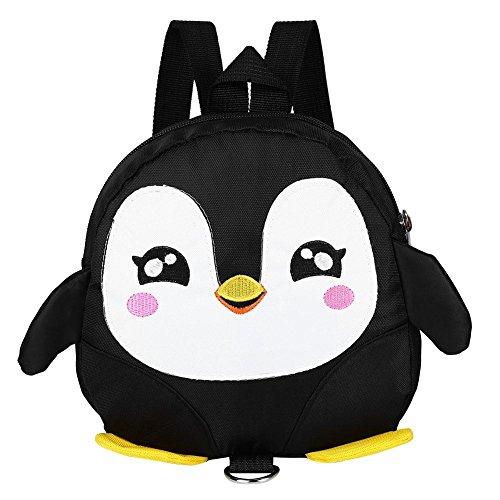Zerodis Rucksack Kinderrucksäcke Backpack Schultasche 3D Pinguin Kinder Kleinkinder mit Sicherheitsleine(Schwarz)
