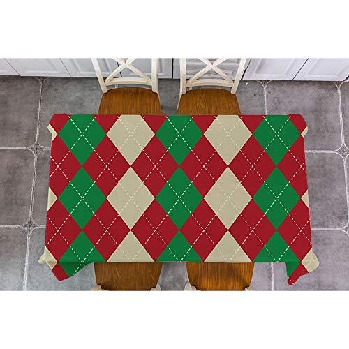 XXDD Mantel de decoración navideña celosía geométrica Santa Claus Mantel de Navidad Cuadrado Rectangular Cubierta de Mesa decoración A5 135x180cm