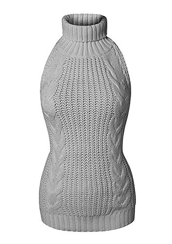 Sorrica Women's Sexy Turtle-Neck Crochet Backless Sweater Japanese Anime Cosplay Cable Knit Pullover Sweater Jumper (Grey, M)