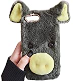 Smartisan Pro2S Art Case, Handmade Fluffy Villi Pig Baby Wool Cute Ball Nose Winter Warm Soft Cover, TAITOU Beautiful Special Big Ear Light Slim Protect Phone Case For Smartisan Pro 2S Green