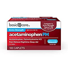 ACTIVE INGREDIENTS: The active ingredients in Basic Care Acetaminophen PM are acetaminophen 500 mg, pain reliever, and diphenhydramine HCl 25 mg, nighttime sleep aid. Compare to Extra Strength Tylenol PM Caplets active ingredients. LESS PAIN, MORE SL...