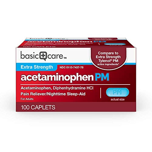 Basic Care Acetaminophen PM, Pain Reliever Plus Nighttime Sleep Aid, 100 Count