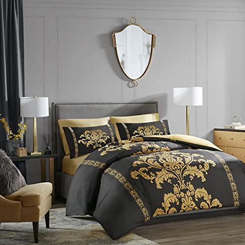 LAZZARO Double Bedding Duvet Cover Set, Non-Iron Duvet Covers Double Bed Sets, 3 Pcs with Zipper Closure + 2 Pillowcases Quilt Cover Sets 200cm x 200cm (Double)