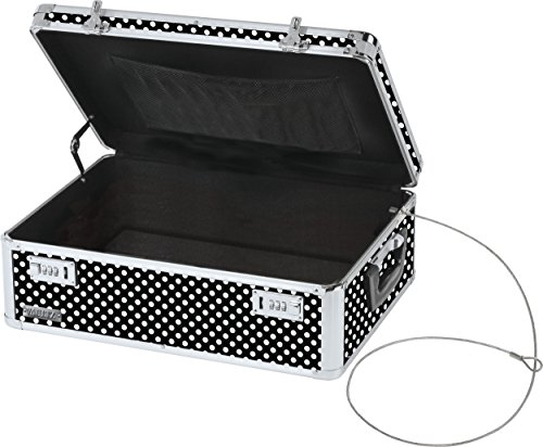 Vaultz Locking Storage Chest/Dorm Storage with Combination Locks, 6.5 x 19 x 13.5 Inches, Black and White Polka Dot (VZ03711)