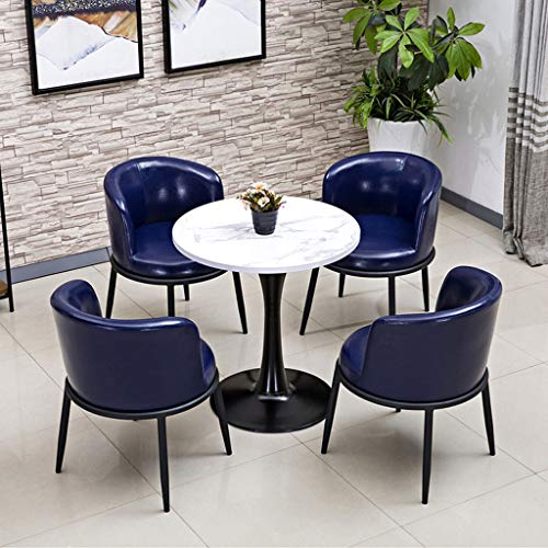 Dining Room Table And Chair Set Nordic Minimalist Marble Texture Wooden Round Table 5-piece Set Modern Design Home Living Room Apartment Meeting Room Coffee Shop Display Reception 1 Table 4 Chairs