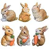 CYSJ 6 pcs Figuras de Adornos de jardín de Conejos Conejos Accesorios de jardín de Hadas,Mini Figuras de Conejito de Resina con Zanahorias para la decoración del jardín del hogar