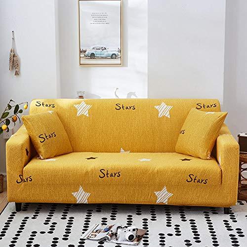 ZJXSNEH Funda De Sofá Elástica Impresa Simple Juego De Sofás De Cuero con Todo Incluido Chaise Antideslizante Estrellas Amarillas XL(4 Asientos 230-300CM)