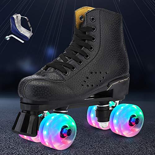 HHMGYH Rollschuhe Damen, Rollerskates Mädchen Roller Skates mit LED-Licht Double Line Skates 4 Wheels Two Line Skating Schuhe für Erwachsene,Schwarz,41