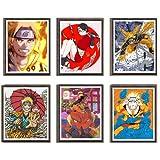 MS Fun Ilustración digital Naruto Anime Póster de Gama Sennin Naruto Uzaumaki Sarada Póster artístico sobre lienzo, 20,3 x 25,4 cm, sin marco, juego de 6