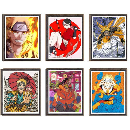 Póster de anime con ilustración digital de Gama Sennin Kurama Sarada en lienzo, 8 x 10 pulgadas, sin marco, juego de 6