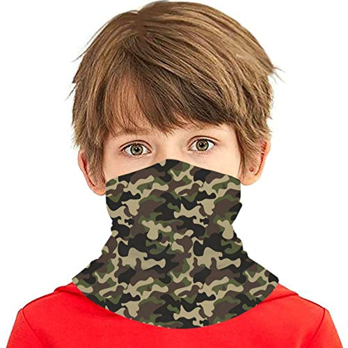 AUHILL Camouflage Camo Green Brown Black Olive Kids Neck Gaiter Face Mask Cooling Cloth Bavaclava Cool Ice Silk Bandana Reusable Washable Girls Boys Headband