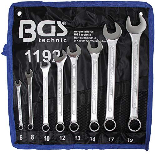 BGS 1192 | Maul-Ringschlüssel-Satz | 8-tlg. | SW 6 - 19 mm | inkl. Tetron-Rolltasche | Gabelringschlüssel