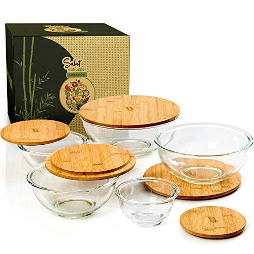 bambuswald© Ensaladera de cristal con tapa de bambú 1365 ml de capacidad | Tazón, cuenco de mezclar, bol de cocina, tazón, bol de cereales, cuenco de servir, tazón de sopa, cuenco decorativo