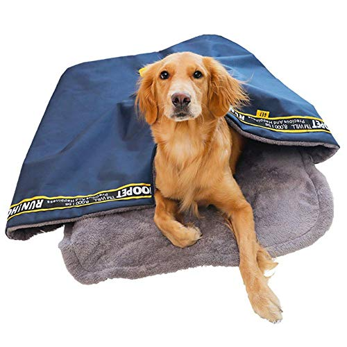 soundwinds Pet Sleeping Bag Pet Nest Cave Plush Dog House Bed Foldable Winter Soft Warm Dog Cat Bed Mat Pad Cushions for Small Medium and Large Cats Dogs