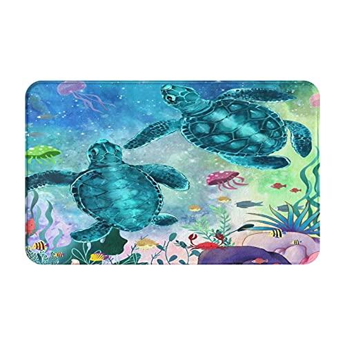 AIKIBELL Alfombrilla de baño,Tortuga Marina Criatura del océano Paisaje Peces submar,alfombras Antideslizantes para decoración del hogar,Felpudo Suave y Duradero