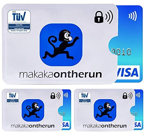 MakakaOnTheRun TÜV geprüfte MakakaOnTheRun RFID Blocking NFC Schutzhüllen - RFID Blocker NFC Schutz Kreditkartenhülle für EC-Karte, Bankkarte, Kreditkarte, Personalausweis (MakakaOnTheRun 3)