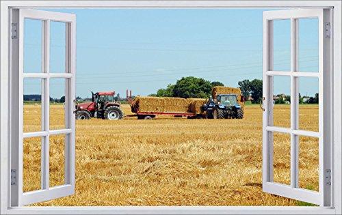 Traktor Landwirtschaft Bauer Feld Wandtattoo Wandsticker Wandaufkleber F0486 Größe 70 cm x 110 cm