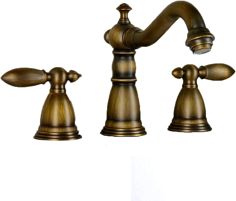 Wasserhahn Europische Kupfer heien und Kalten grün Bronze Klassischen Amerikanischen Split Drei-Loch antiken Waschbecken
