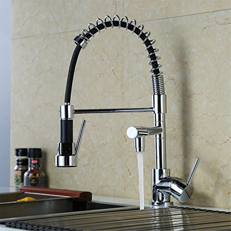 AQMMi Waschtischarmatur Wasserhahn Pull-Out-Warmes Und Kaltes Wasser Messing Drehbar Erweiterbar Feder Der Einhebelsteuerung Mischbatterie Waschtisch Armatur Für Bad