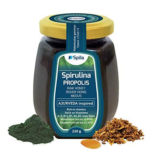 Rauwe honing met spirulina & propolis - biologische honing - zo gezond als Manuka-honing uit Nieuw-Zeeland - echte pure bloesemhoning