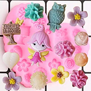 Cake Molds - DIY Fairy Garden Girl Silicone Molds Rose Leaf Birthday Fondant Cake Decorating Tools Chocolate Candy Mold Je...