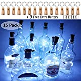 Wine Bottle Lights with Cork, 15 Pack Battery Operated Silver Wire Cork Lights + 9 PCS Extra Replacement Batteries with Fairy Mini String Lights for Party Wedding Decor Cool White(Bottle not Included)