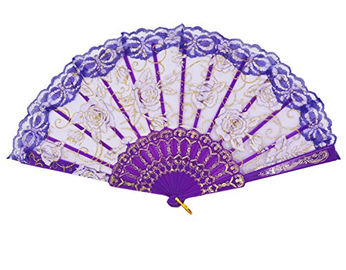 Amajiji Folding Hand Fans,Fashion Elegant Flower Rose Lace Chinese/Japanese Folding Fan (Purple)