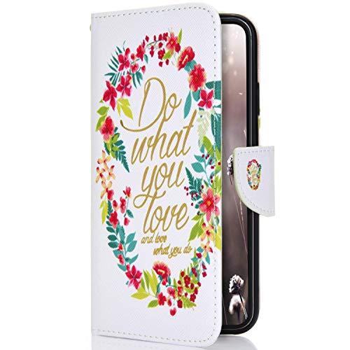 Uposao Kompatibel mit Handyhülle Sony Xperia L1 Handytasche Bunt Vintage Muster Wallet Flip Hülle Cover Hülle Ledertasche Lederhülle im Bookstyle Klapphülle Mit Kartenfach,Bunt Rosa Blumen