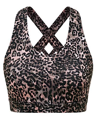 FAFAIR Sport BH Gepolstert Gekreuzt Rücken Lauf Fitness Sexy Top Yoga Bra Pink Leopard Print XXL