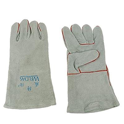 Fenteer 1 Pair Welding Gloves Arc TIG MIG Mitt LONG LINED WELDERS Cowhide Work gloves Industrial Welder golves