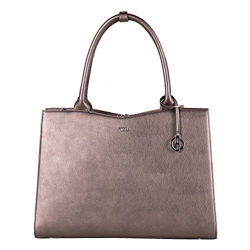 SOCHA Damen Notebooktasche-Laptoptasche 15 6 Zoll metallic grau elegante Businesstasche extra leicht robust Designertasche Modell Straight Line Grey