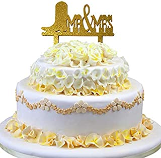 JennyGems Cowboy and Cowgirl Wedding Reception Cake Topper - Country and Western Themed Wedding and Anniversary Celebration Party