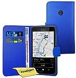 FoneExpert® Nokia Lumia 530 Hülle Wallet Hülle Flip Cover Hüllen Schutzhülle Etui Ledertasche Lederhülle Premium Schutzhülle für Nokia Lumia 530 + Bildschirmschutzfolie (Blau)