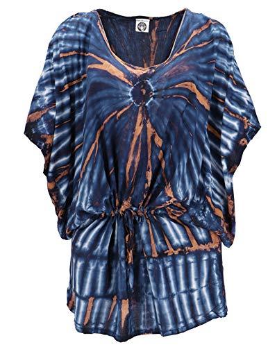 Guru-Shop, Tie Dye Tuniek met Riem, Maxi Tuniek, Strandjurk, Oversized, Blauw/beige, Size:One Size, Blouses Tunieken