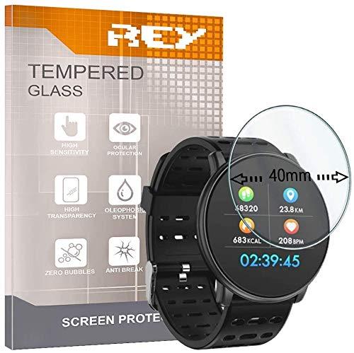 3X Protector de Pantalla Universal para Reloj 40 MM, Cristal Vidrio Templado Premium, Electrónica Rey