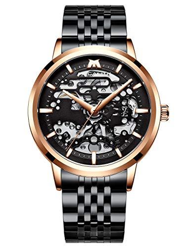 MEGALITH Herren Uhr Männer Militär Mechanische Automatikuhr Wasserdicht Schwarz Edelstahl Armbanduhr Mann Blau Coole Skelett Moderne Analog Uhren