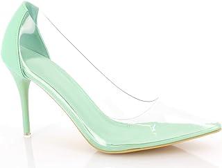 f0f9485c84cb24 Escarpin Transparent Femme Talon Aiguille - Chaussures Eté Verni Haute Talon  10 Cm - Sexy Mariage