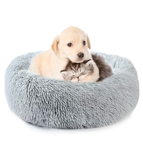 Vanansa Hundebett für Hunde und Katzen, Rundes Katzenbett Donut Plüsches Bett...