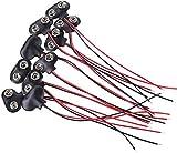 ZHITING 10 pezzi Connettore a clip per batteria da 9 V, collegamento per alloggiamento cavo lungo in ecopelle tipo T