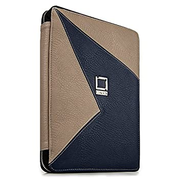 Lencca Minky Eco Leather Tablet Portfolio Stand Case for Huawei MediaPad M3 8.4 inch Matebok 12 inch 2 in 1 Tablet Blue and Taupe