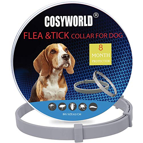 COSYWORLD 2-Pack Dogs Flea and Tick Collar - 8 Months Protection for Dogs - Waterproof, Adjustable, 100% Natural Essential Oil Extract